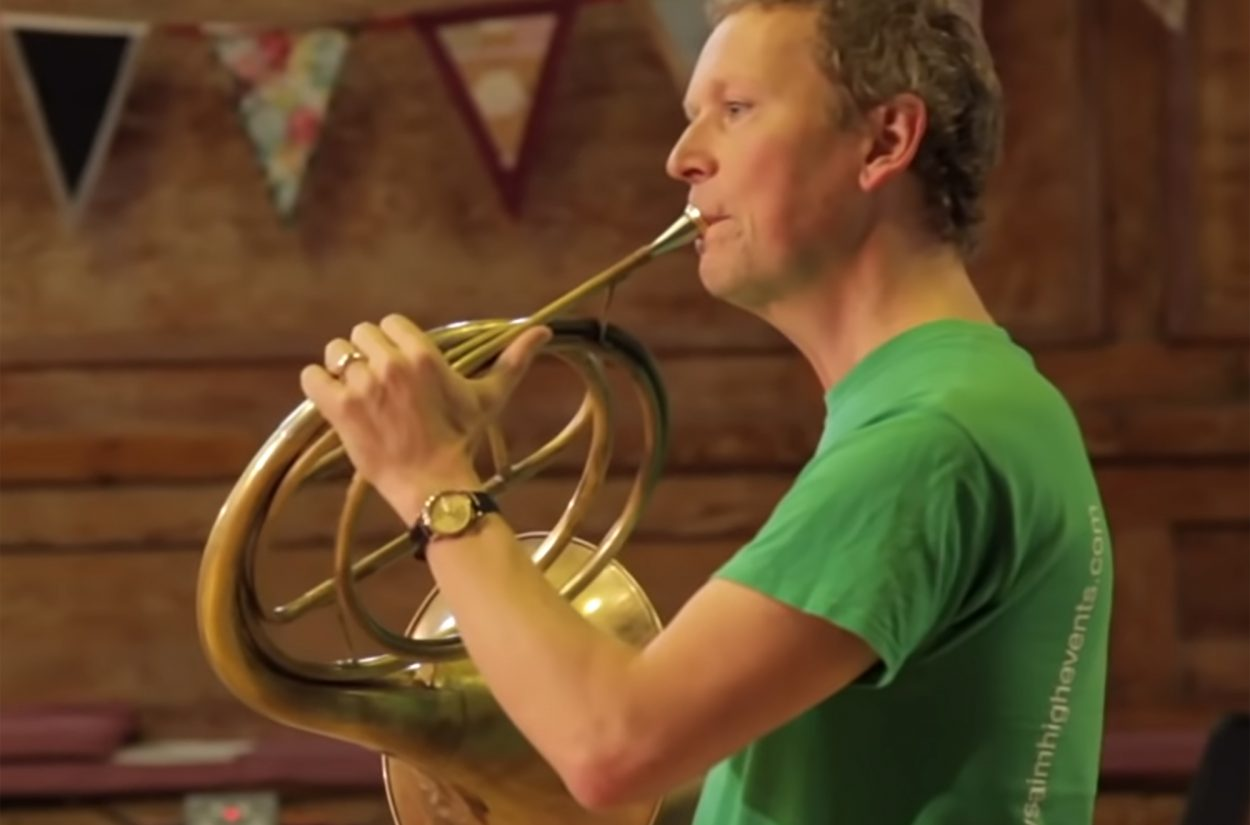 Principal Horn Roger Montgomery playing the natural horn