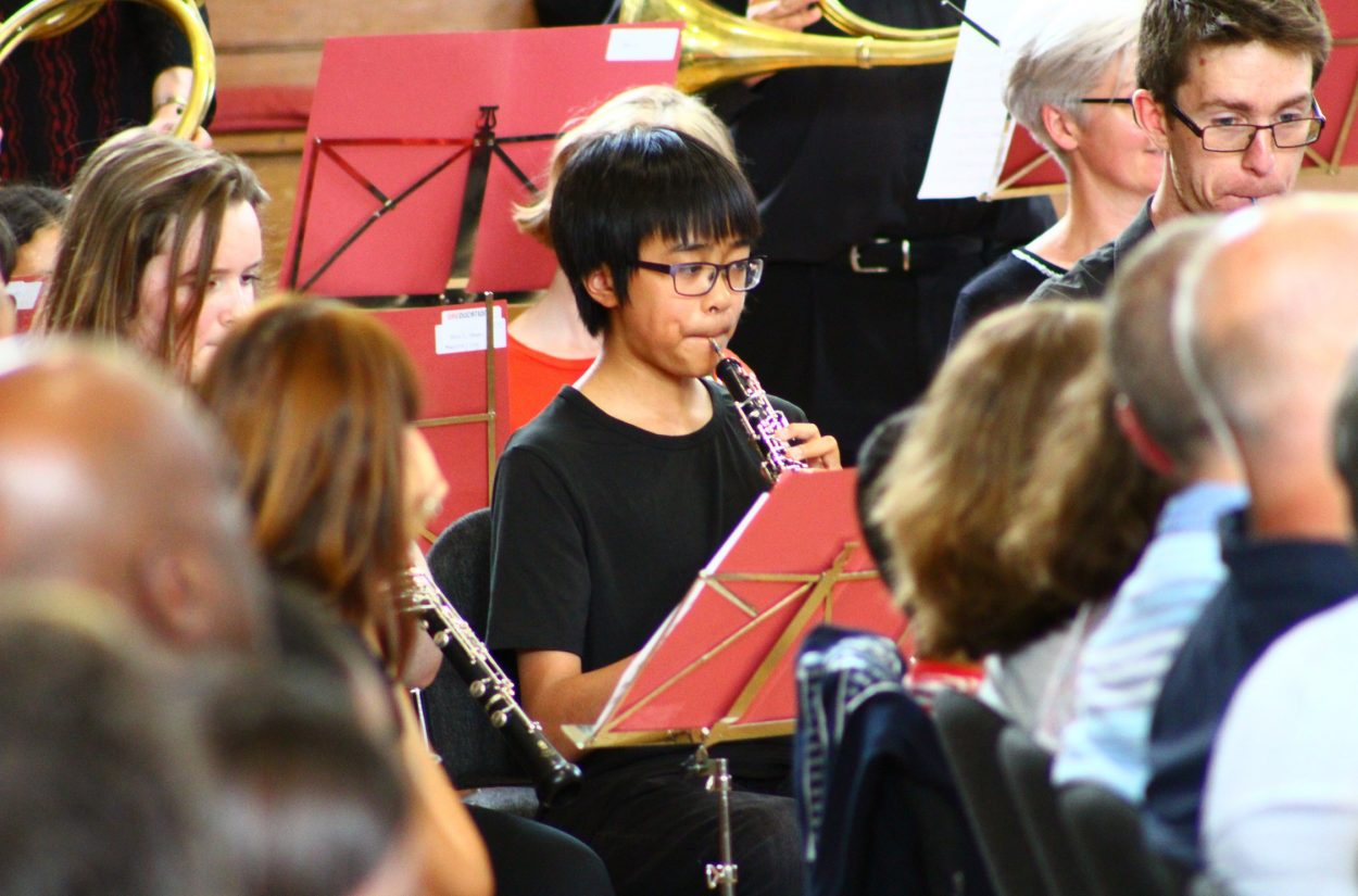 Young oboe and bassoon players performing with OAE Edcuation