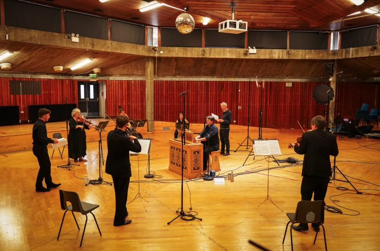 OAE and Mark Padmore recording music in the Acland Burghley School Hall