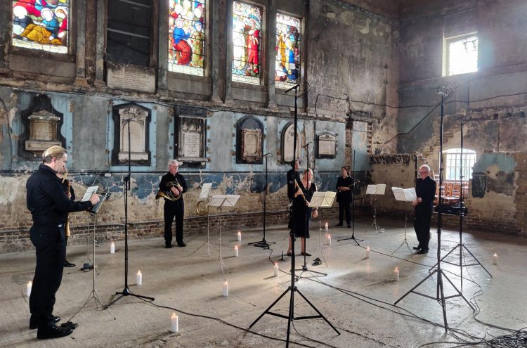 Dan Bates (left) filming at Asylum Chapel. © Zen Grisdale