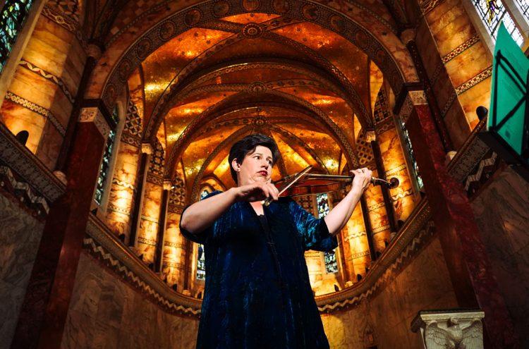 Kati Debretzeni filming at Fitzrovia Chapel. © Zen Grisdale